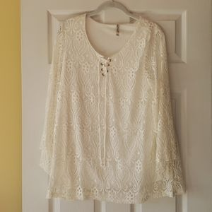 Lace top with lining.  White. Large EUC.